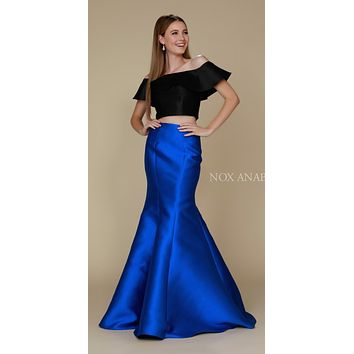 Royal Blue/Black Off Shoulder Mermaid Two-Piece Prom Gown