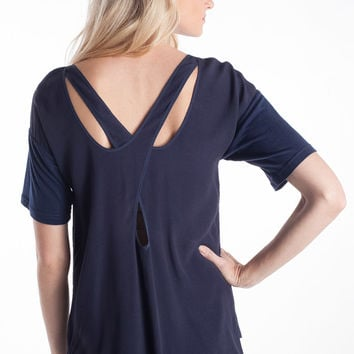 Rebecca Taylor Crepe & Lace Blouse in Smoky Blue