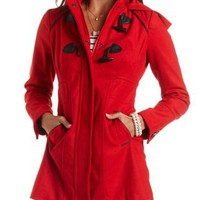 Hooded Long Line Duffle Coat by Charlotte Russe - Red