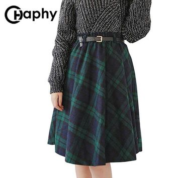 Plaid Skirt Women Long A-Line Skirt British Style Woolen Plaid Skirts Kilt Winter Vintage Wool Tartan Umbrella Plaid Skirts