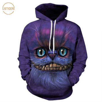ISTider Cheshire Cat Womens Hoodies Funny Cat Hooded Sweatshirt Spring Long Sleeve Shirts Women/Men Pullover Brand Clothing