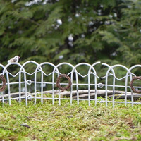 Fairy Garden Fence - miniature accessories with bird and wreaths