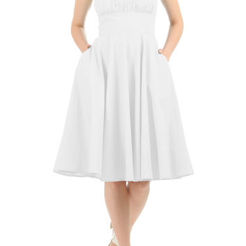 Ruched bodice cotton poplin dress