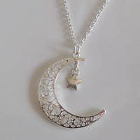 Moon necklace, star necklace, Sister, Mother Daughter, Girlfriend Gift silver necklace
