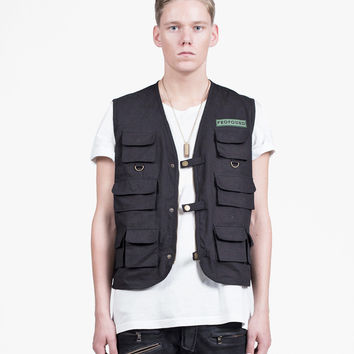 Black Textured Multi-Pocket Cargo Vest
