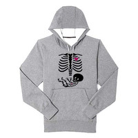Pregnant Skeleton Maternity Halloween hoodie heppy feed and sizing.