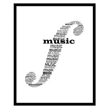 Forte - Music printable Typographic print Music art Music print Instant download Gift for music lover Living room decor Black white print
