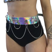 Punk Metal Chain Belt Women Sexy PU Leather Hollow Out Waist Body Chain Waistband Holographic Nightclub Belt For Skirt/Pants
