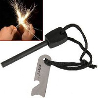 Wilderness Survival Fire Sparkle Flint Firestone Striker and Steel with Opener & Sawtooth [4339] - US$2.78 - China Electronics Wholesale - FlyDolphin.com