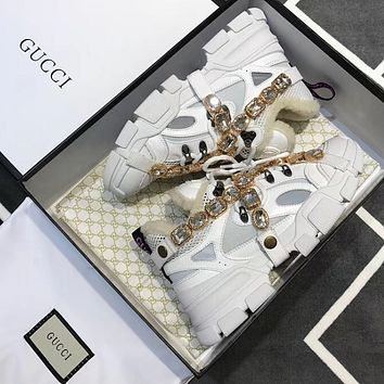 GUCCI Flashtrek wool sneaker with crystals Brown  black  white