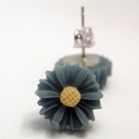 Blue Grey Gray Daisy Earrings 14mm Flowers Cute Accessory