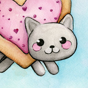 Nyan Cat Art Print Heart-Shaped Pop Tart Valentines Day Painting
