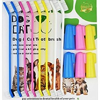 Dog Toothbrush Cat & Dog Finger Toothbrush Soft Bristle Pet Toothbrush Combo Pack For The Dental Care of Your Small to Large Dogs, Cats, & Most Pets