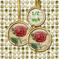 Vintage Roses - Digital Collage Sheet Circles - Printable Images for Jewelry Earrings Rings Pendants - Instant Download