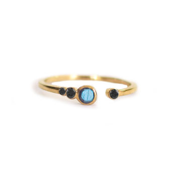 Labradorite and Black Diamond Brittany Ring
