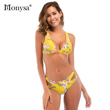Monysa New Floral Printed Bandages Bikini Women 2018 Summer Beach Bathing Suit Low Waist Push Up Sexy Bikini Set Women Swim Wear