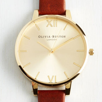 Luxe Time Floats By Watch in Tan Gold - Big by Olivia Burton from ModCloth