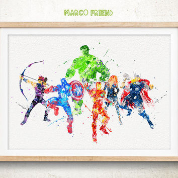 Avengers Superhero Marvel - Watercolor Art Print, Room Decor, Poster, Home Baby Nursery Wall Art