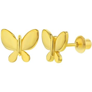 925 Sterling Silver Butterfly Small Screw Back Earrings for Girls or Teens