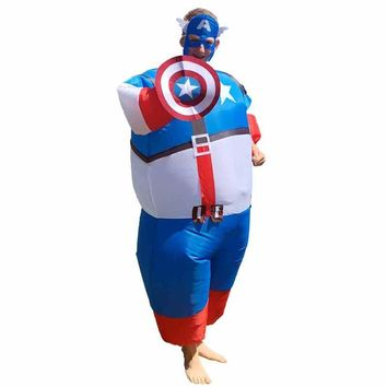Captain America Adult Mens Fan Inflatable Costume Suit Superhero Hero Funny Cosplay Carnival Halloween Costume For Men and Women