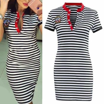 Summer Lady Women's Casual Dress Short Sleeve Striped Dress Cocktail Party Dress