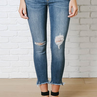 Distressed Cropped Skinny Jeans by Just Black
