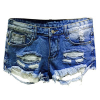 Blue Ripped Five Pocket Lace Accent Denim Shorts