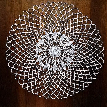 Vintage doily knitted crochet 1980s, Crochet, Table,  Home & Living, Home Décor, Doilies, Womens lace, Handmade, All natural, MyWealth