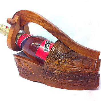 Vintage Wine Holder Champagne Holder Wooden Shoe Wine Holder Bottle Holder Shoe Wine Rack Wood Hand Carved Wood Shoe Bar Decor Home Decor