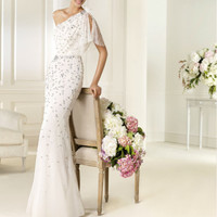 2016 New Style Swxy One Shoulder Sequined Wedding Dress Custom Bridal Gown