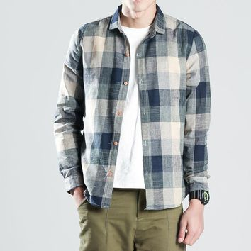 YINOS Vintage Plaid Men Shirts Retro Color Linen Cotton Long Sleeve Male Casual Shirts Homme LightWeight Loose New Arrival 2017