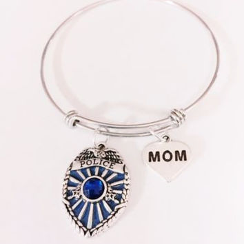 Adjustable Bangle Charm Bracelet Police Mom LEO Blue Officer Badge Gift