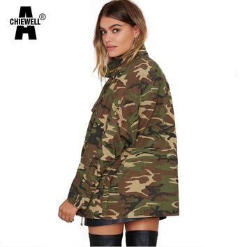 ACHIEWELL 2016 Autumn Women Camouflage Jacket Military Fatigues Vintage Pocket Stand Neck Grmy Long Women Jacket With Button