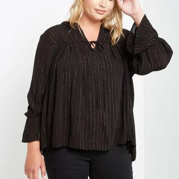 Georgina Metallic Striped Top Black