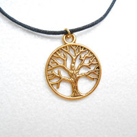 Antique Gold Tree Necklace - Yggdrasil Tree Of Life - Wisdom Tree Pendant - Unisex Accessories