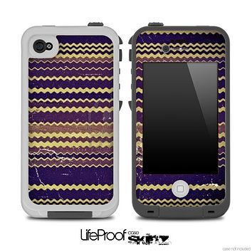 Vintage Dark Blue Chevron Pattern Skin for the iPhone 5 or 4/4s LifeProof Case