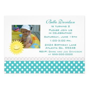 Smiling Sunshine and Polka Dot Party Invitation from Zazzle.com