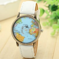 2015 Top Vintage Watch Luxury Brand Relojes New Map Women Dress Watch Denim Fabric Band Global Travel By Plane Print Men Clocks
