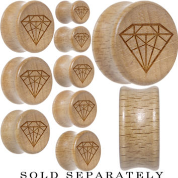 Diamond Shape Saddle Plug in Organic Beech Wood | Body Candy Body Jewelry