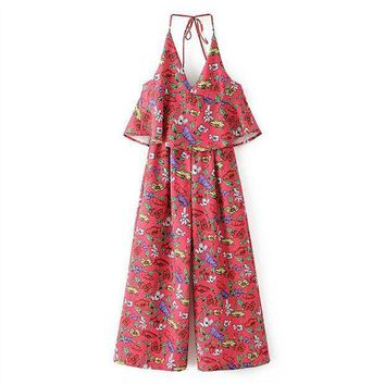 2017 Fashion Women Print Jumpsuits Overalls Rompers  Sexy Red Strap Halter Backless V Neck Elegant Summer Casual Long Jumpsuits