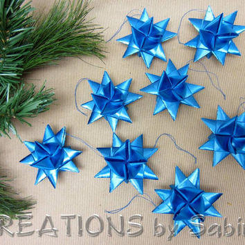 German Ribbon Star Christmas Ornaments / Set of 8 / Froebel Advent Moravian Danish Swedish Origami 3D Stars shiny blue / READY TO SHIP (24)