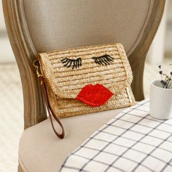 Knitting package red lips hand woven bag