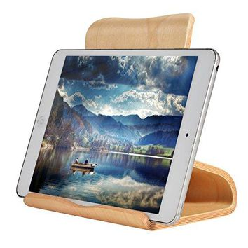 SAMDI Wooden Ipad stand tablet stand MultiAngle with stable stick base Compatible with iPad Air mini 2 3 4 Kindle Ereader Cook Book and Other 613 Tablets White Birch