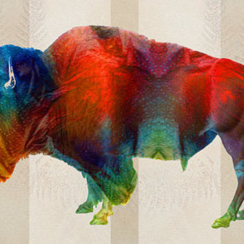 Colorful Buffalo Animal Art Print from Painting Bison Red Primary Colors Rustic Abstract CANVAS Native American Indian Large Big Country