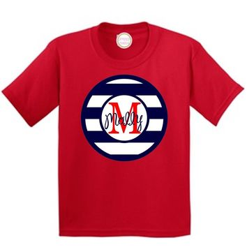 Blue Stripe Red Initial on Red T-Shirt