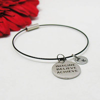 Imagine Believe Achieve Bracelet - Imagine Believe Achieve Bangle - Initial Charm - Charm Bracelet - Initial Bracelet - Custom Bracelet