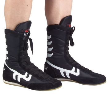 2017 New Arrival None Men Lace-up Cow Muscle Genuine Leather Rubber Cotton Fabric Wrestling Shoes Sneakers