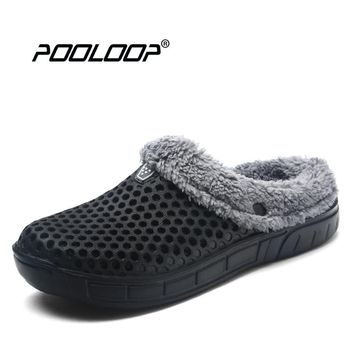 2017 Winter Warm Slippers Men Indoor Shoes Cotton Pantoffels Casual Croc Clogs With Fur Fleece Lining House Floor Slippers