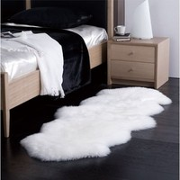 Sheepskin Rug Double Pelt Natural White Fur 2x6