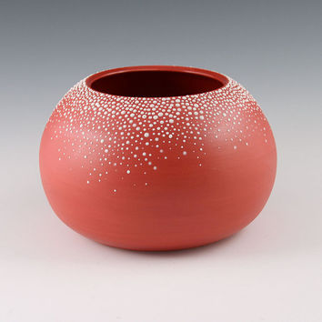 Vase Red Orb - Large Round Porcelain Pebble Vase in Red
